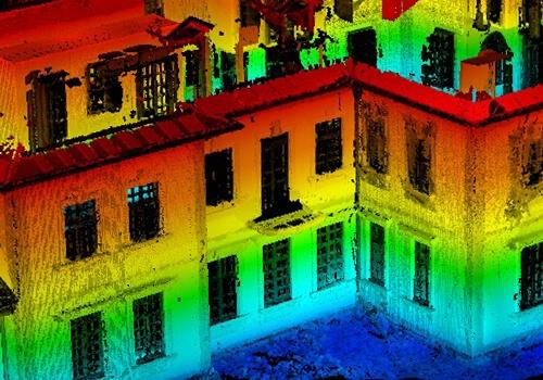 сканирование фасада дома