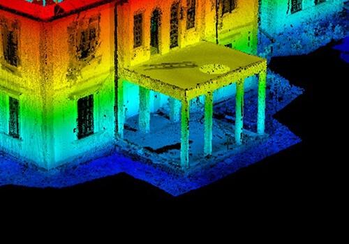 сканирование фасада здания